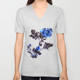Blue peonies sumie ink and watercolor painting Unisex V-Neck