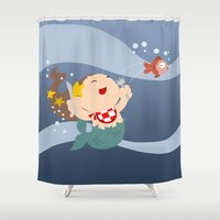 little mermaid Shower Curtains featuring little mermaid by Alapapaju