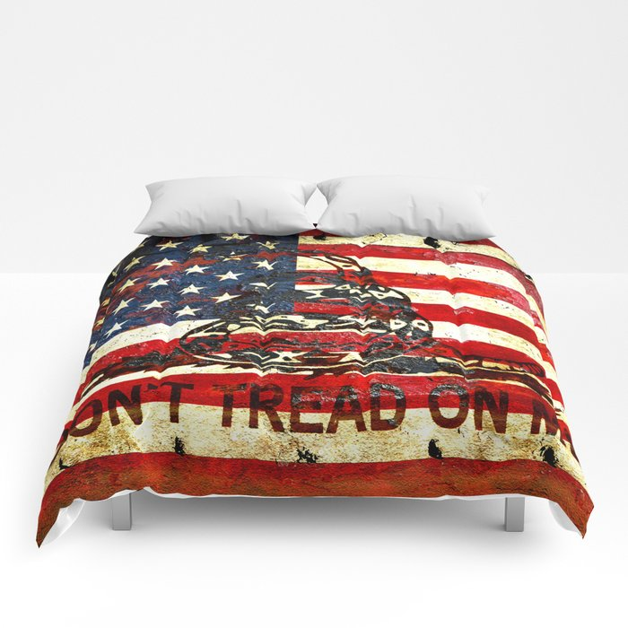 Don't Tread on Me - American Flag And Gadsden Flag Composition Comforters