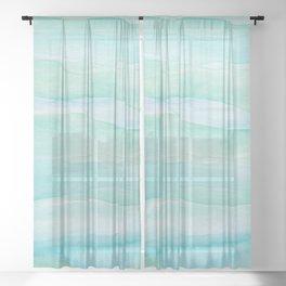 Ocean Layers - Blue Green Watercolor Sheer Curtain