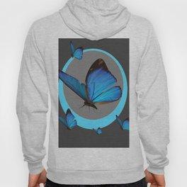 NEON BLUE BUTTERFLIES  & CHARCOAL GREY PATTERN Hoody