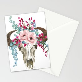 Bohemian bull skull with flowers Stationery Cards