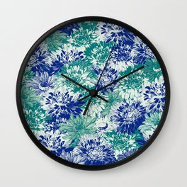 marguerites and chrysanthemums in blues Wall Clock