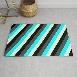 Dark Slate Gray, Cyan, Beige, and Black Colored Lines Pattern Rug