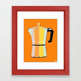 Retro Coffee Pot - Vintage Spring Colors on Morning Sun Background Framed Art Print