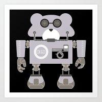 godard Art Prints featuring Robot Alpha 60 (Hommage à Jean-Luc Godard) by EinarOux
