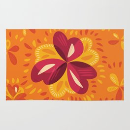 Orange And Pink Clover Abstract Floral Rug