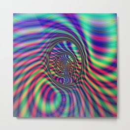 Psychedelic Oval Labyrinth Metal Print