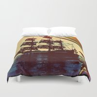 pirate ship Duvet Covers featuring pirate ship by Ancello
