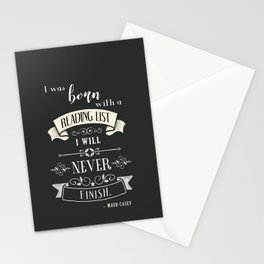 Born With a Reading List - Charcoal Stationery Cards