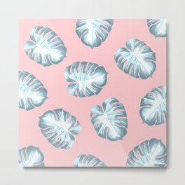 Icy Tropical Banana Leaves Metal Print
