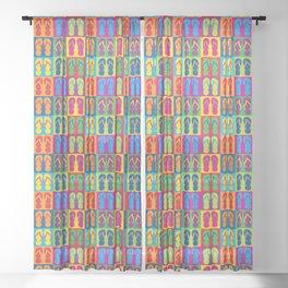Pop Art Flip Flops Sheer Curtain