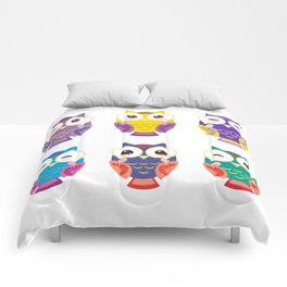 bright colorful owls on white background Comforters