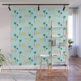 Animal Print Yellow Cheetah under Green Palm Trees on Muted Blue Background Wall Mural