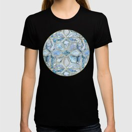 Geometric Gilded Stone Tiles in Soft Blues T-shirt