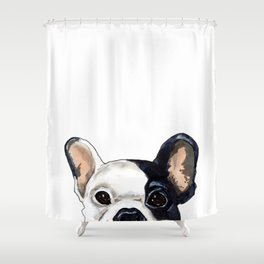 Peek A Boo Frenchie  Shower Curtain