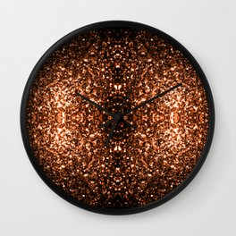 Beautiful Bronze Orange Brown glitters sparkles Wall Clock