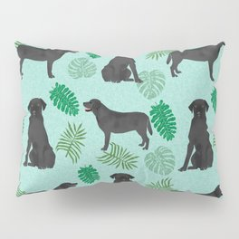 Black Lab summer monstera tropical pure breed dog gifts Pillow Sham