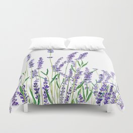 lavender watercolor horizontal Duvet Cover