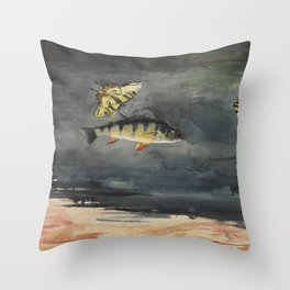 Vintage Winslow Homer Fish & Butterfly Painting (1900) Throw Pillow