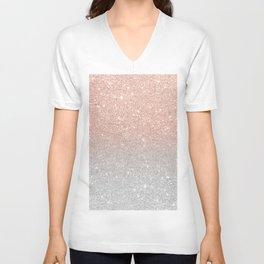 Modern trendy rose gold glitter ombre silver glitter Unisex V-Neck