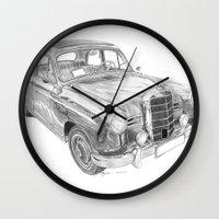 mercedes Wall Clocks featuring Mercedes-Benz 180 by Gábor Vida