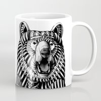 flag Mugs featuring Ornate Grizzly Bear by BIOWORKZ