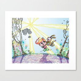 Laughing Along the Path - One Boy and a Toy Canvas Print