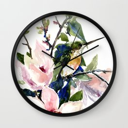 Hummingbird and Magnolia Flowers Wall Clock