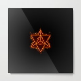 Flaming Merkaba Metal Print