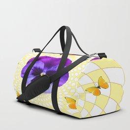 PANSY & YELLOW BUTTERFLIES  GEOMETRIC PATTERN Duffle Bag