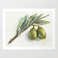 Olive Branch | Green Olives | Watercolor Illustration Art Print