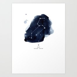Zodiac Star Constellation - Leo Art Print