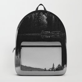 Black and white image of Lake Braies and its reflections Backpack