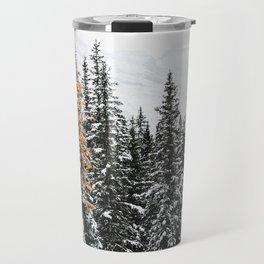 353. Autumn Pine in Snow Forest, Banff, Canada Travel Mug