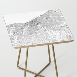 Cleveland White Map Side Table