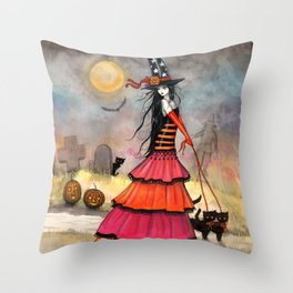 A Halloween Stroll Witch and Cats Art by Molly Harrison Throw Pillow