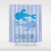 pisces Shower Curtains featuring Pisces by Esther Ilustra