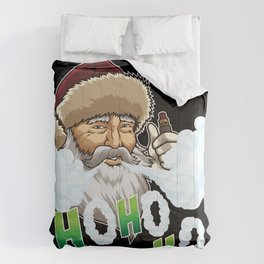 Vaping Santa Claus Blows Clouds Under Xmas Tree Comforters
