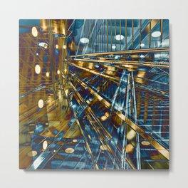Golden City Lines Metal Print