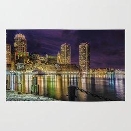 Boston Harbor with Christmas lights. Rug