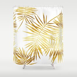Tropical Palm Fronds in Gold Shower Curtain