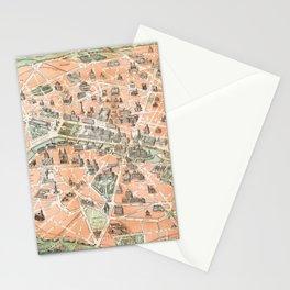 Vintage Paris Map Stationery Cards