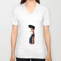 rockabilly V-neck T-shirts featuring Rockabilly Boy by quentinschall