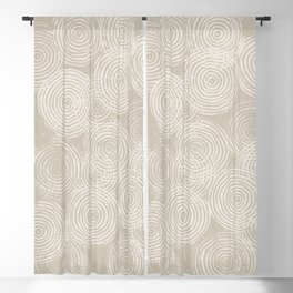 Radial Block Print in Tan Blackout Curtain