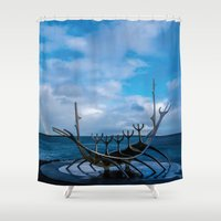vikings Shower Curtains featuring Remember the Vikings by Alex Tonetti Photography
