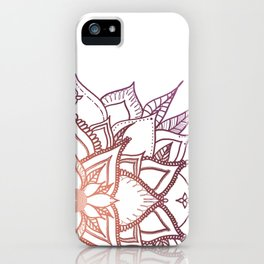 Mandala, Orange and Pink Leaves iPhone Case