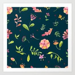 Watercolor Summer Flower Pattern Art Print