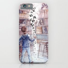 Boy in the magic library - Fantasy iPhone Case