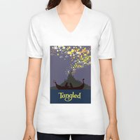 tangled V-neck T-shirts featuring Tangled by TheWonderlander